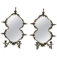 Pair Continental Silvered Metal Girandole Mirror Wall Sconces, Late 19th Century