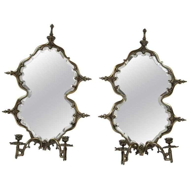 Pair Continental Silvered Metal Girandole Mirror Wall Sconces, Late 19th Century