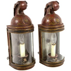 Pair of French Toleware Wall Lanterns, Late 19th Century
