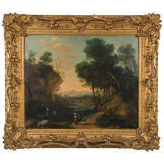 Giltwood Framed Oil on Canvas Landscape Painting, Late 18th Century, France