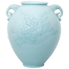 Chinese Celadon Porcelain Ceramic Vase with Elephant Head Handles