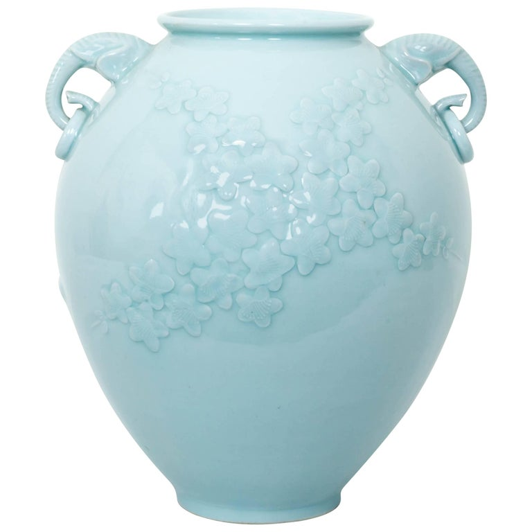 Chinese Celadon Porcelain Vase with Elephant Head Handles For Sale