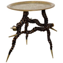 Vintage Twisted Horn Occasional Table with Brass Top and Feet