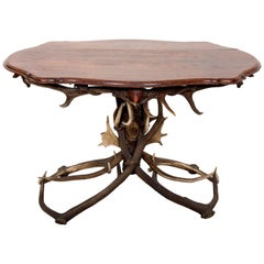 French Antler Table with Shaped Top