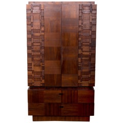 Midcentury Tall Mosaic Wooden Patchwork Dresser