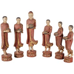 Finely Carved Complete Burmese Buddha and Monk Set