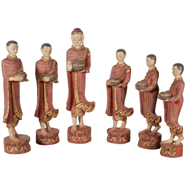 Finely Carved Complete Burmese Buddha and Monk Set For Sale