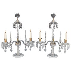 Rare Pair of George II English Cut-Glass Candelabra