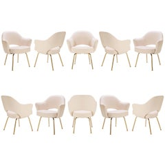 Saarinen Executive Arm Chairs in Bone Luxe Suede, 24k Gold Edition, Set of Ten
