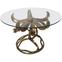 Round Glass Top Lily Table by Arthur Court