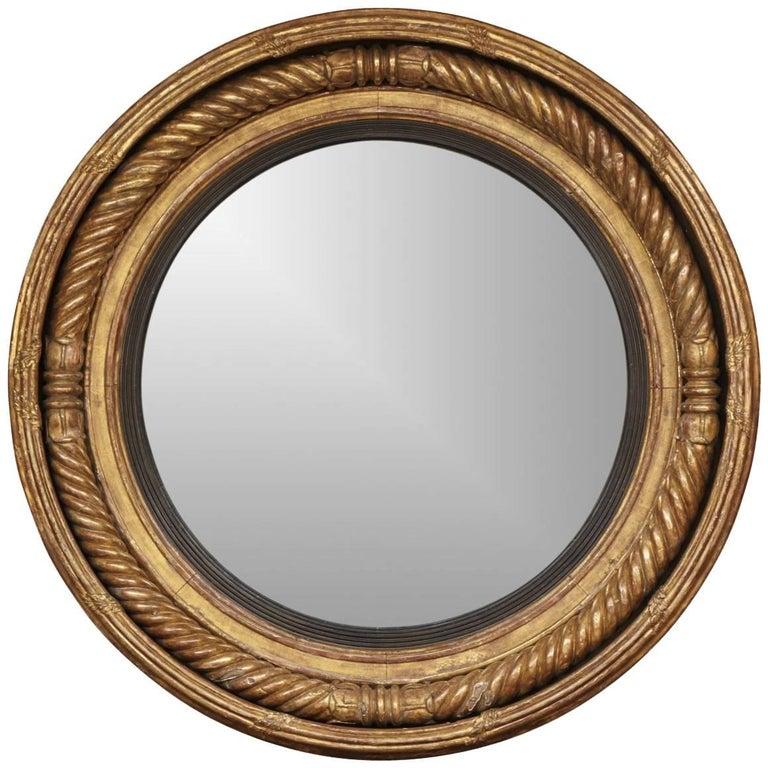 Rare Oversized RegGiltwood Classical Convex Mirror, circa 1815