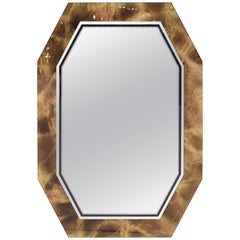 Italian Mid-Century Modern Octagonal Faux Tortoise Shell Mirror
