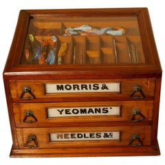 Morris and Yeoman's Needles & Co. Haberdashery Advertising Three-Drawer Cabinet