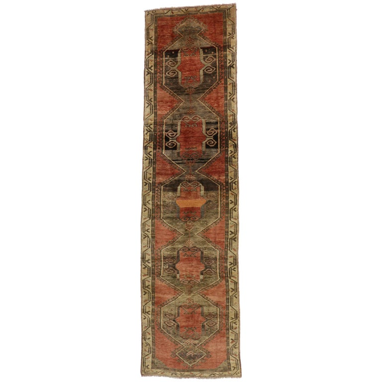 Vintage Turkish Oushak Runner with Modern Style, Extra Long Runner