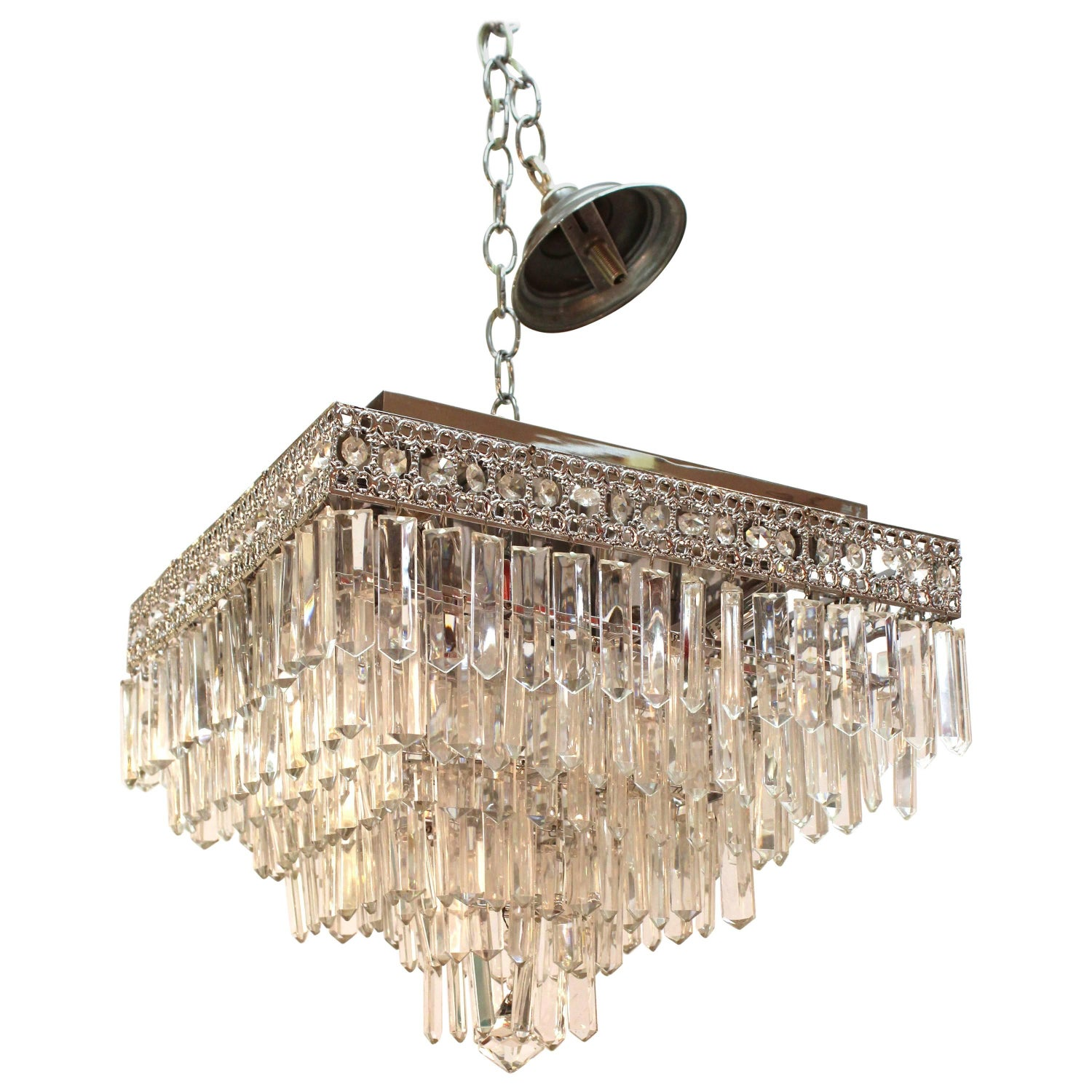 Mid Century Italian Gold Plated Brass Chandelier with Crystal