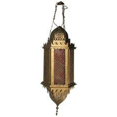 Ancient Orientalist Lantern in Painted Metal, circa 1930