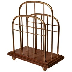Elegant Victorian Brass and Oak Magazine Rack