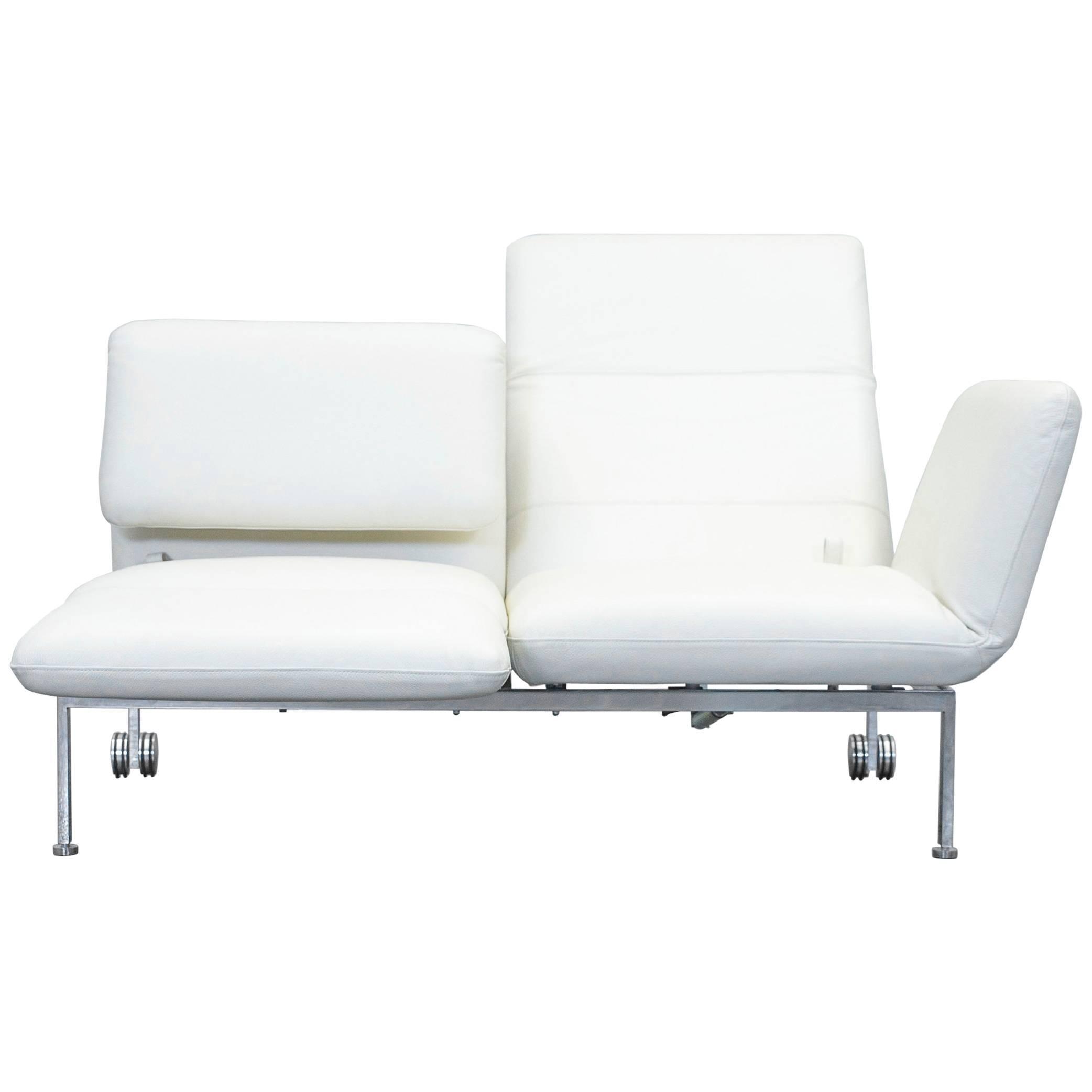 Bon Brühl U0026 Sippold Roro Small Designer Leather Sofa Crème Function Two Seat  Modern For Sale