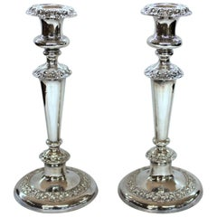Pair of Antique English George IV Sheffield Plate Rococo Round Base Candlesticks