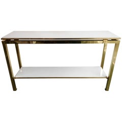 Brass Console Table Lacquered by Guy Lefevre for Maison Jansen, France, 1970s