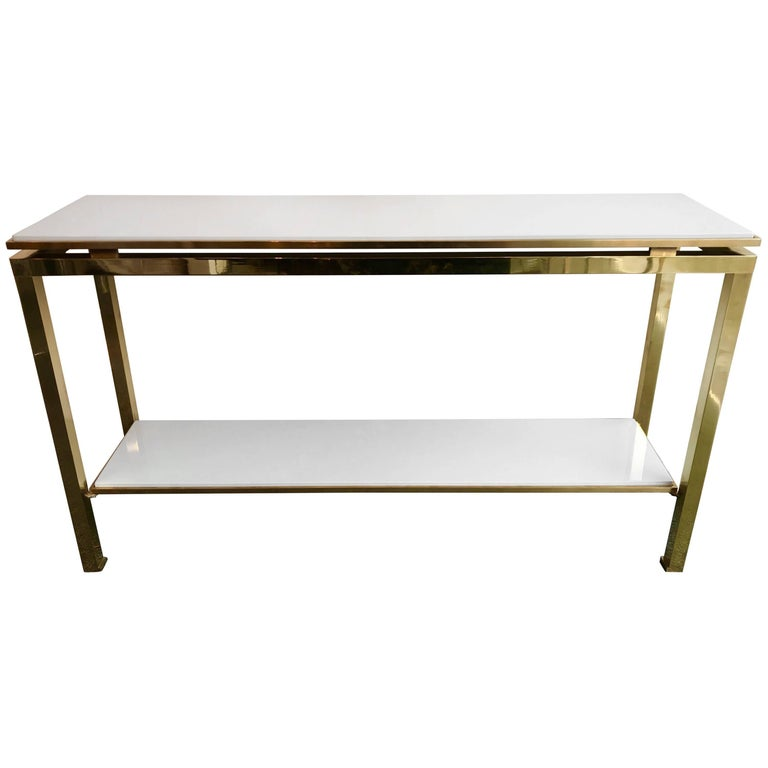Brass Console Table Lacquered by Guy Lefevre for Maison Jansen, France, 1970s For Sale