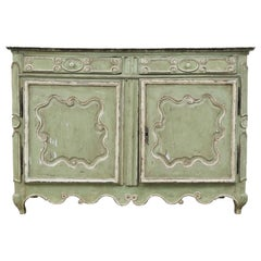 French Provincial Green Paint Decorated Cabinet, Early 19th Century