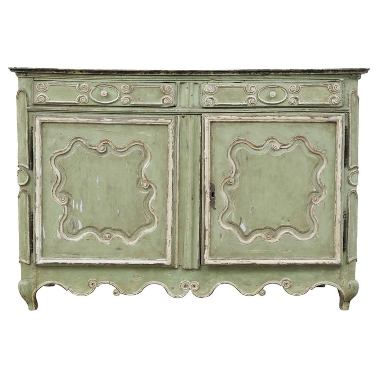 French Provincial Green Paint Decorated Cabinet Early 19th Century For