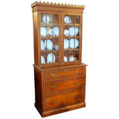 Antique English Hand-Carved Mahogany Bookcase or Display Cabinet