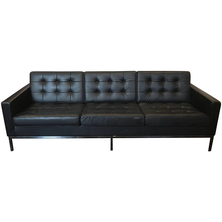 Florence Knoll Three-Seat Sofa Black Leather For Sale