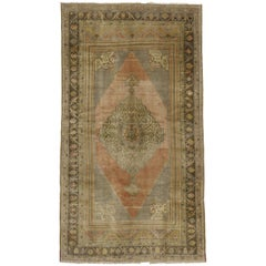 Vintage Turkish Oushak Carpet Gallery Rug, Wide Oushak Runner with Muted Colors