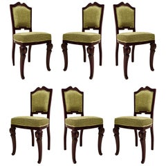 Set of 6 Art Deco Mahogany Wood and Geometric Green Velvet Chairs, 1920