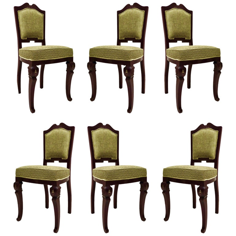 Set of 6 Art Deco Mahogany Wood and Geometric Green Velvet Chairs, 1920 For Sale