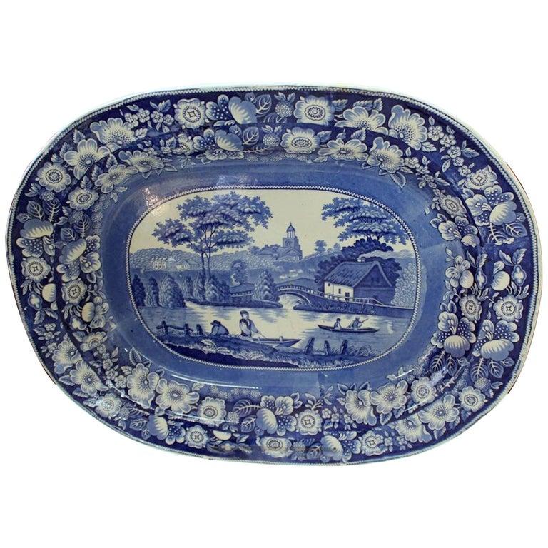 Antique English Very Large Staffordshire B & W Transferware Scenic Platter