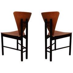 Pairs of Midcentury Triangular Shape Italian Side Chairs, 1950