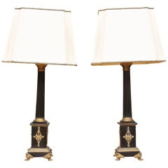 Pair Of French Ebonized And Bronze Mounted Classical Column Form Lamps