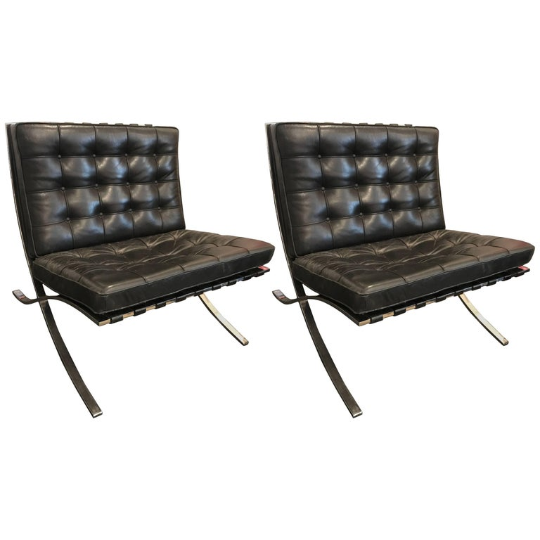 Ludwig Mies van der Rohe Pair of Barcelona Chairs, Knoll, Black Leather For Sale