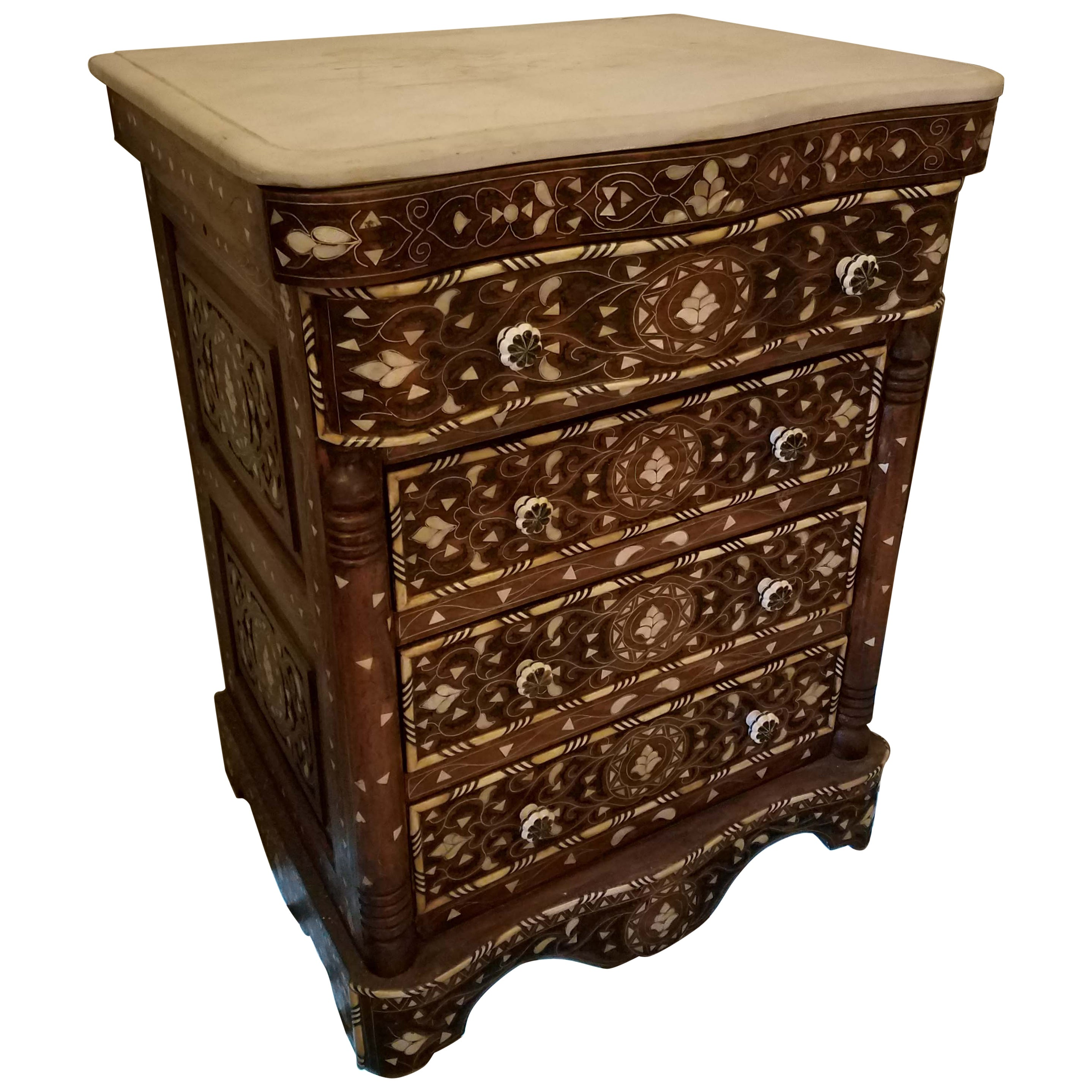 Syrian mother of pearl walnut wood chest of drawers chocolate brown for sale at 1stdibs
