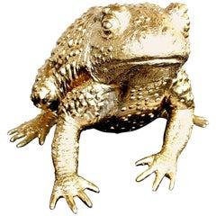Money Frog Hand Gilded 24 Karat Gold Leaf Decor Tabletop Animal Object