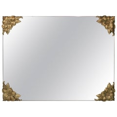 Hollywood Regency Mirror with Brass Floral Decorated Corners
