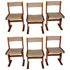 Set of Six Mid-Century Modern Danish Teak and Linen Dining Chairs