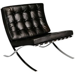 Signed Knoll Black Leather Barcelona Lounge Chair by Ludwig Mies van der Rohe