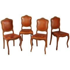 French Art Deco Distressed Leather Dining Side Chairs, Set of Four