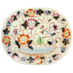 Antique English Hand-Painted Ridgway Ironstone Imari Decor Platter