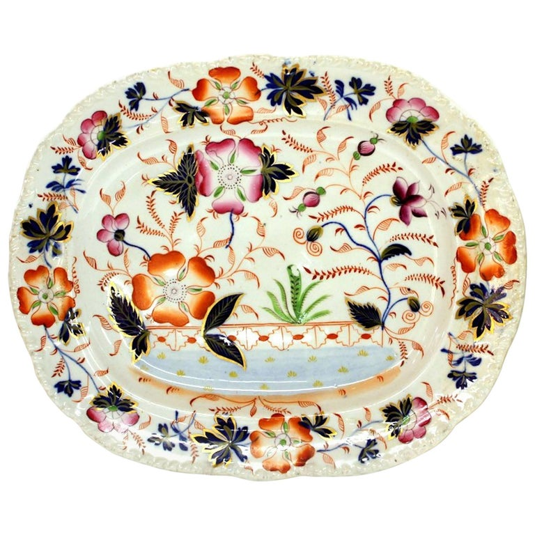 Antique English Hand-Painted Ridgway Ironstone Imari Decor Platter For Sale