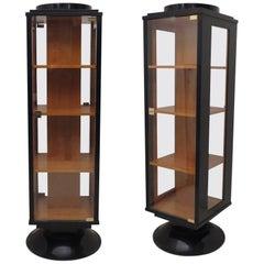 Pair of Black and Maple Wood Italian Art Deco Showcases, 1930