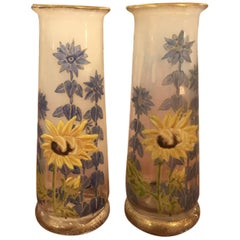 Pair of Antique French Enameled Opaline Glass Vases