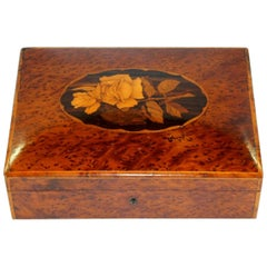 Old English Marquetry Inlaid Pippy Yew Dome-Top Trinket Box