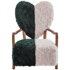 UNI Chair in Beech Wood and Mohair Raf Simons Fabric by Merve Kahraman