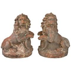 Pair of 19th Century Terracotta Lions