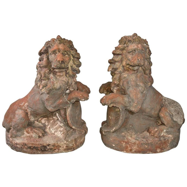 Pair of 19th Century Terracotta Lions For Sale